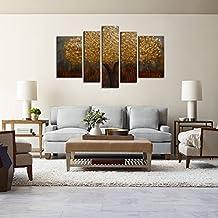 Raybre Art 5pcs/set 100% Pintados a Mano Cuadros en Lienzos Pintura al óleo Abstracta Sin Marco - Cuadro Moderno Barato Paisaje de Hoja Oro Árboles para Arte Pared Decoración Hogar Cocina Dormitorio