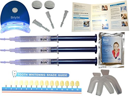 Briyte ® Teeth Whitening Kit (TEETH WHITENING) Pro Home Teeth Whiten Tooth Whitening Dental Care White 3x GEL Bleaching Kit Briyte Crest UK Express Test