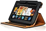 InventCase Amazon Kindle Fire HDX 7 Tablet (7 inch - 3rd Generation) 2013 Smart Multi-Functional PU Leather Book Case Cover with Sleep Wake Function - Black and Tan