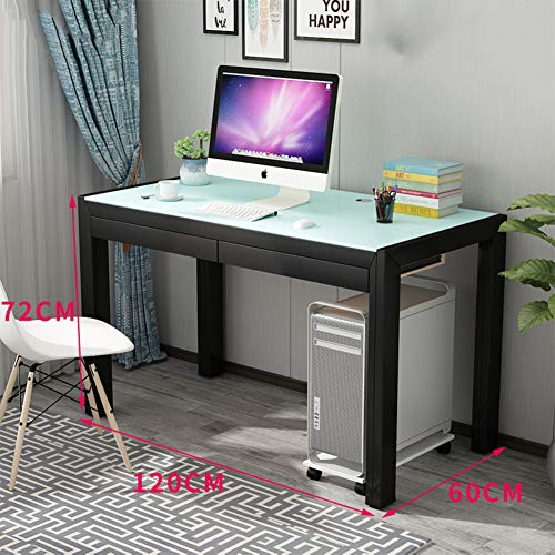 Wayward Computertisch Mit Schubladen,große Einfache Computer Schreibtisch Für Office,Glas Klar 100% Metal Workstation Studium Schreibtisch Espresso-l 120x60x72cm(47x24x28inch)
