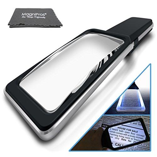 MagniPros See Things Differently Große rechteckige Lupe Leselupe mit 5fach Bifokalglas Und [10 Dimmbare LED-Geben Sie Gleichmäßig Lit Sichtbereich] für das Lesen, Low Vision, Senioren 3X Schwarz