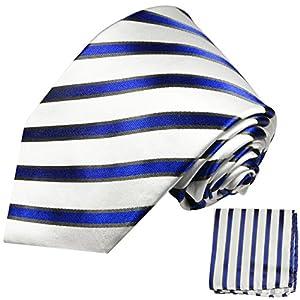 Paul Malone XL Krawatten Set blau weiss 100% Seidenkrawatte (Extralang 165cm) +Einstecktuch