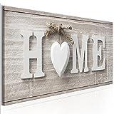 decomonkey | Bilder Home Holz 100x40 cm 1 Teilig | Leinwandbilder | Bilder | Vlies Leinwand | Bilder | Wand | Bild | Wandbild | Kunstdruck | Wanddeko | Haus vintage rustikal Holz retro Herz