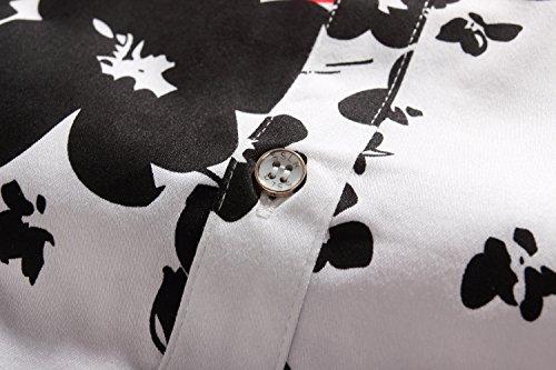 SSLR Herren Blumen Baumwolle Freizeit Regular Fit Button Down Kurzarm Hemd Weiß (168-161)