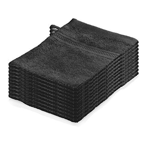 Lumaland Premium 10er Set Waschlappen Waschhandschuhe Frottee 16 x 21cm 100% Baumwolle 500 g/m² grau