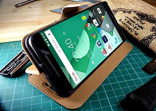 Akira Handmade Original Premium Echtleder Wallet Case für LG Google Nexus 5X Braun