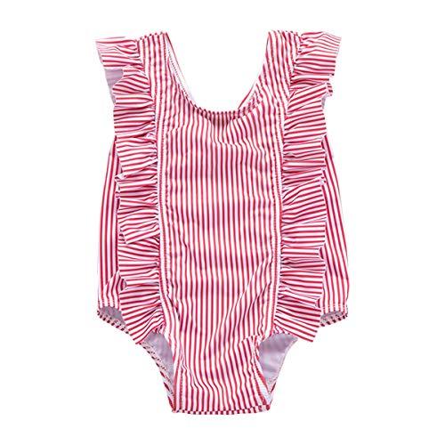 Yonimu Baby gekräuselte vertikale gestreifte Badebekleidung, beiläufiger Strand-Feiertags-Monokini-Badeanzug für Säuglingskleinkind (Color : Rose, Size : 3-4t)