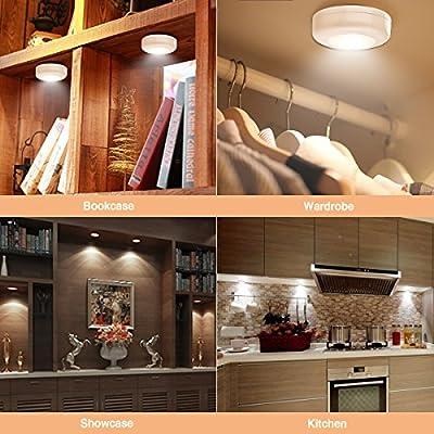 Elfeland 6er-Set Schrankbeleuchtung Led Nachtlicht mit Fernbedienung Treppen Licht Unterbauleuchten Kabinett Batteriebetrieben Schrankleuchte für Schränke Küche Schlafzimmer Gang 4000K Warmweiß