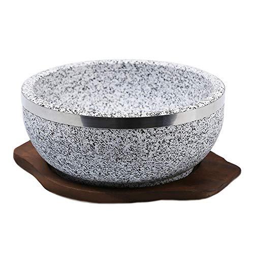 Kimmyer Dolsot Bibimbap Stone Bowls Stone Bowl Heavy-Duty for Bibimbap and Soup Granite Stone-mit Einem Tray Heavy Duty Tray
