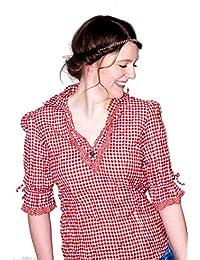 Nübler Trachtenbluse Mariandl Rot-Weiß, Blau-Weiß, Beere-Weiß, Gr. 38-54, Karo-Muster, Figurumspielend, V-Ausschnitt, ¾ Arm, Crushed-Look, Große Größen