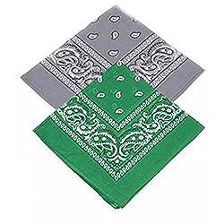 Set of 2 Paisley Bandanas - Grey and dark green Bandannas scarf / Hankerchief / Head tie / Neck Tie / Neckerchief 100% Cotton , For Men, Women & Kids, High quality (Pack of 2)