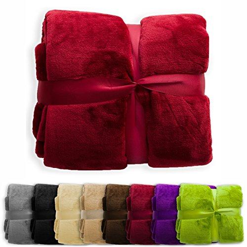 Preisvergleich Produktbild XXL Decke Glory | uni bordeaux | super weiche Wohndecke / Kuscheldecke | 2 Größen und 8 Farben verfügbar | 150x200cm