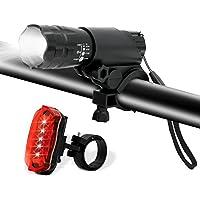 Lumière pour vélo, Bukm LED Phare Lampe de vélo Avant et Arrière,3 d'éclairage variés,La batterie ne comprend pas,Résistant à l'eau Lumière Set Avant et Arrière de vélos Pour le cyclisme, le camping, les sports d'extérieur