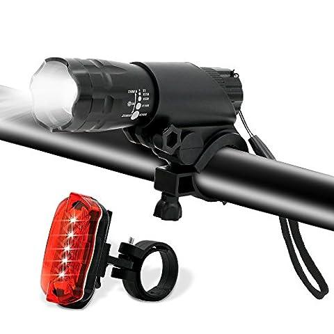Lumière pour vélo, Bukm LED Phare Lampe de vélo Avant et Arrière,3 d