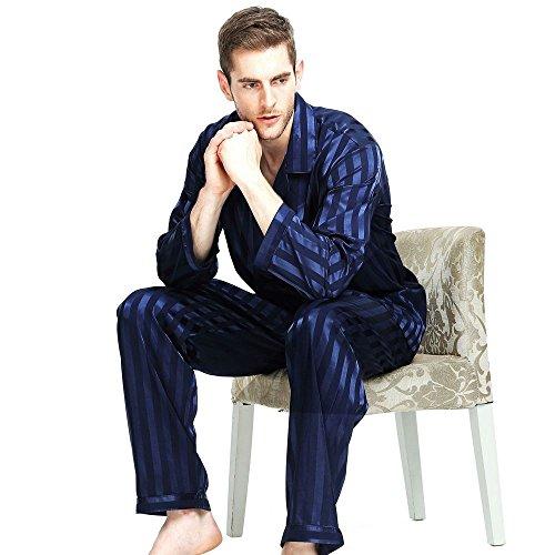 Herren Seide Schlafanzug Pyjama Homewear Blau Large (Schlafanzug Seide)