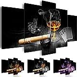 Bilder 200x100 cm - 3 Farben zur Auswahl - XXL Format - TOP - Vlies Leinwand - 5 Teilig - Wand Bild - Kunstdrucke - Wandbild - Alkohol Zigarre Poker Whisky i-A-0101-b-o 200x100 cm