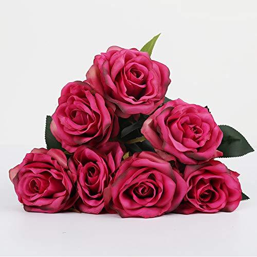 Jun7L Unechte Blumen,Künstliche Deko Blumen Gefälschte Blumen Seidenrosen Plastik 7 Köpfe/10 Köpfe Braut Hochzeitsblumenstrauß für Haus Garten Party Blumenschmuck Rosenrot A 7 Köpfe