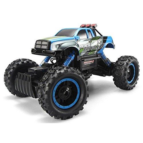 FSTgo® RC Auto Rock Crawler 2.4Ghz 4WD 1/14 fuoristrada elettrico da corsa Toy Truck per bambini con fari a LED (Blue)