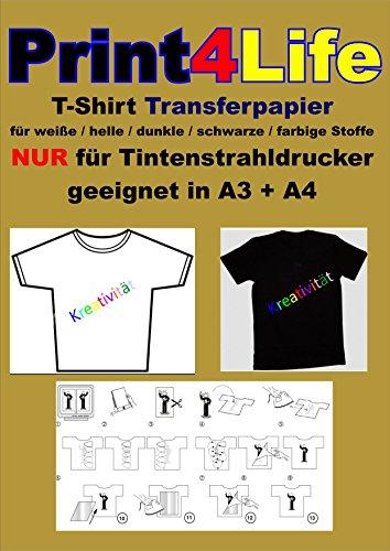Preisvergleich Produktbild 5 Blatt DIN A4 T-Shirt Transferfolie transluzent. Eine spezielle Transferfolie zum Aufbügeln/Bedrucken von weissen Baumwoll- T-Shirts, Basecaps,Sweat-Shirts, Baumwoll-Taschen,Bettwäsche,Fahnen,....