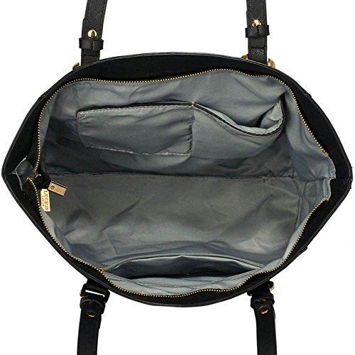 TrendStar Damen Konstrukteur Taschen Damen Große Shopper Bag Kunstleder Schulter Trage Taschen F - Schwarz / Nude