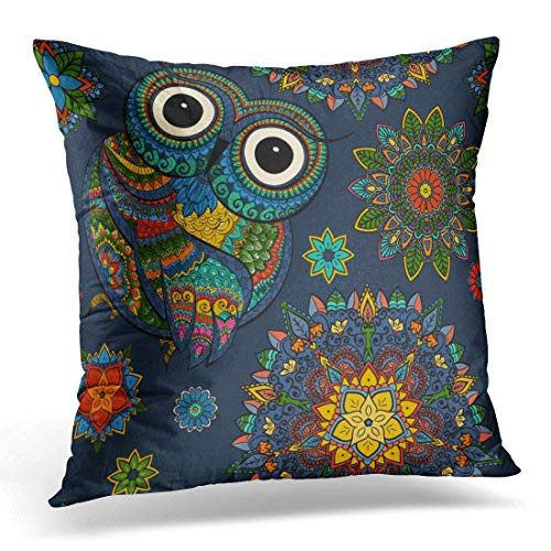 2b77d5aa0e03 Throw Pillow Cover From Ornamental Color Owl with Flowers and Mandala  African Indian Totem Tattoo It May Be of Bag and So Decorative Pillow Case  Home ...