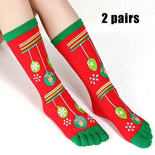 GuoYq Weihnachtssocken, Kinder Zehensocken Mit Zehen Baumwolle Crew Xmas Five Finger Bed Socks Unisex FüR Liebhaber Familie Erwachsene Kinder, Neuheit