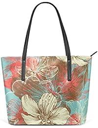 COOSUN Main Dessin floral d'Apple Fleurs PU Sac à bandoulière en cuir et sacs à main bourse Sac fourre-tout pour les femmes Moyen multicolore