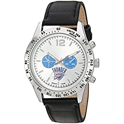 Game Time Men's 'Letterman' Quartz Metal and Leather Automatic Watch, Color:Black (Model: NBA-LET-OKC)