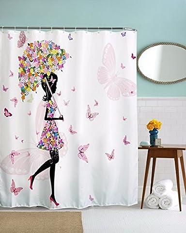 A.Monamour Rosa Blumenregenschirm Schmetterlingsmädchen Mit Blumenkleid Weißer Hintergrunddruck Wasserdichtes Formbares