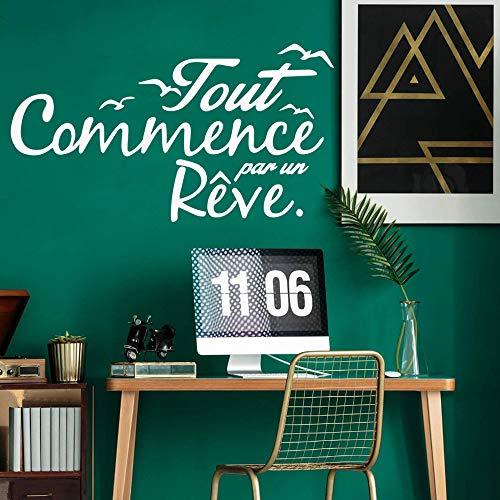 yiyiyaya Spaß französisch Zitate Vinyl Tapetenbahn Möbel Dekorative Für Kinderzimmer DIY Dekoration Home Party Decor Tapete grau L 43 cm X 78 cm -