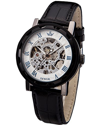 SEWOR Mens Hollow Skeleton Carving Mechanical Hand Wind Wrist Watch (Black White)