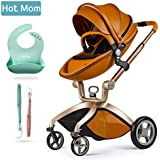 Hot Mom Cochecito de Bebe 2017 - Sillita de paseo 3 en 1 (incluye mois¨¦s)£¬Elegante seguridad, buenos amortiguadores, asiento regulable en altura, multi-¨¢ngulo ajustable, reversible
