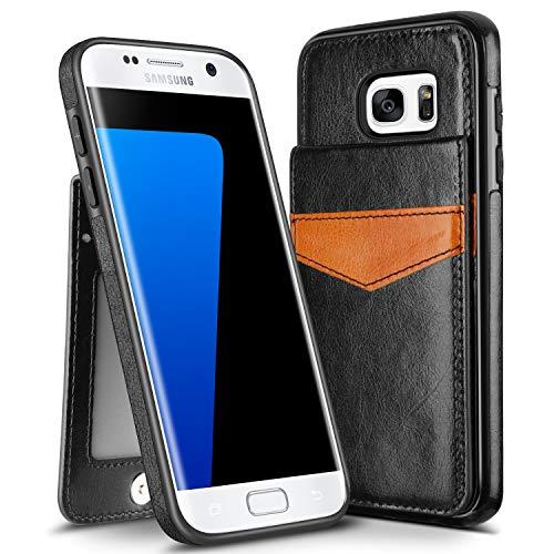 HianDier Wallet Case für Galaxy S7 Edge Hülle Leichte Kartenhalter Case Kickstand Flip Cover Schutzhülle PU Leder Dual Layer Soft ID Pocket Kompatibel mit Galaxy S7 Edge Schwarz -