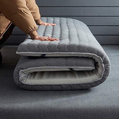 Wymname lattice giapponese futon materasso, addensare pieghevole rimboccarsi materasso tatami-grigio 90x190cm(35x75inch)