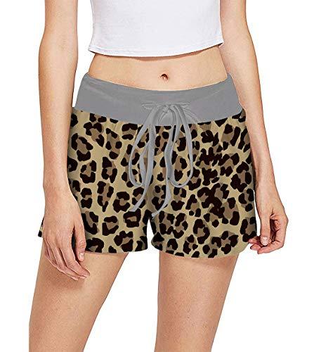 Pyjama Schlaf Shorts (Fanient Damen Jugend Mädchen Bademode Badeanzug Bottom 3D Leopard Spot Gedruckt Laufen Shorts Schlaf Pyjamas Shorts L)