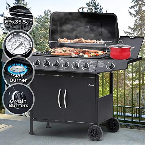 Barbecue à Gaz | 6 Brûleurs Principaux + 1 Latéral, en Acier, avec Thermomètre et Roulettes, 132,5/92,5/54 cm, Noir | BBQ Gaz, Barbecue Gaz Plancha
