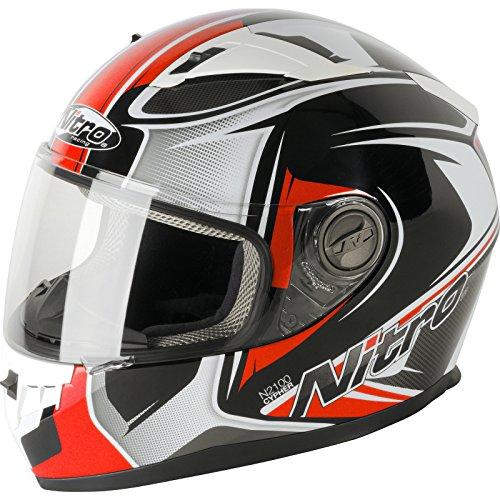 Nitro N2100 Cypher - Motorcycle Helmet, Black White Red, Medium