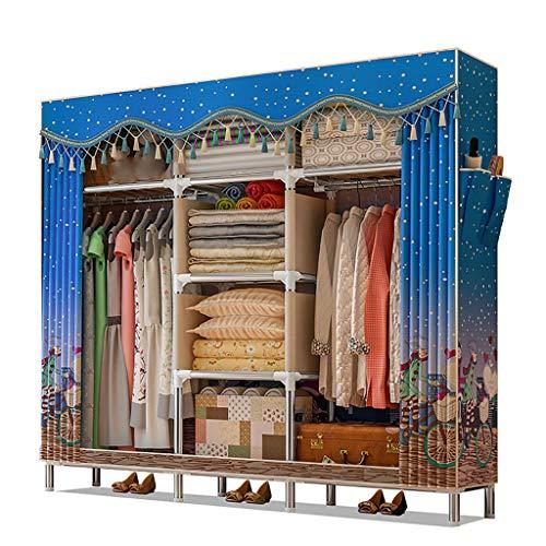 GUHAIBO Textilschrank Lagerung,kleiderschrank stoffschrank Organisatoren und Lagerung,Stoffkleiderschrank Schränke für Schlafzimmer,Extra Space,C_168x46x172cm