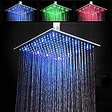 KAIBOR 30 * 30cm Luxus LED Einbau-Duschkopf Regendusche Deckenbrause Quadrat Überkopfbrause superflach Farbewelchseln nach Temperatur