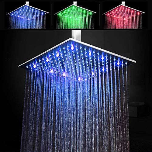 duschgarnitur unterputz KAIBOR 30 * 30cm Luxus LED Einbau-Duschkopf Regendusche Deckenbrause Quadrat Überkopfbrause superflach Farbewelchseln nach Temperatur