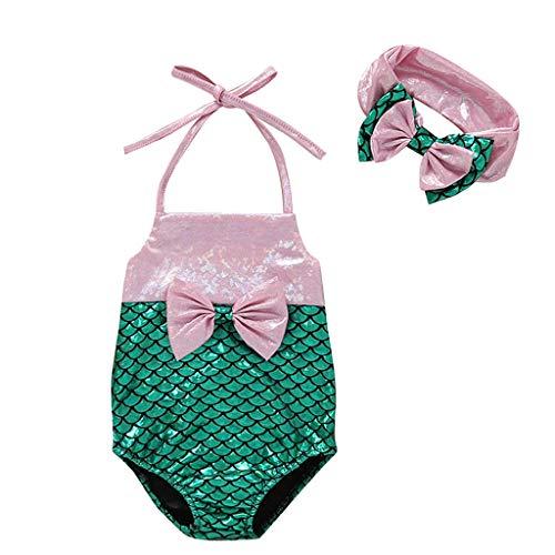 cf88532b152 DressLksnf Kinder Baby Mädchen ärmellose Strand Bikini Badeanzug Mädchen  Bogenknoten Fischschuppe Badeanzug Mädchen Sling Mit Kopftuch Bademode  Mädchen Mode ...