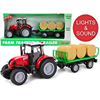 Toyland® 37cm Red Tractor & Trailer With Lights & Sound - Kids Farm Toys