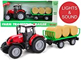 Toyland® 38cm Red Tractor & Bale Trailer with Lights & Sound - Farm Toys