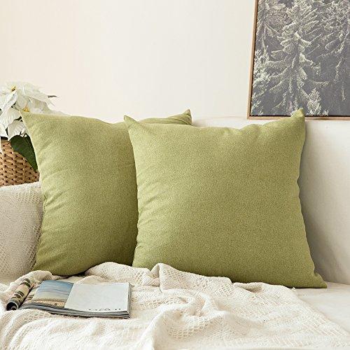 MIULEE 2er Pack Home Dekorative Leinen-Optik Kissenbezug Kissenhülle Kissenbezüge für Sofa Schlafzimmer Auto mit Reißverschlüsse 40x40 cm Grün - Schlafzimmer-dekorative Kissen