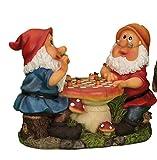 2 Gartenzwerge spielen Dame Schach Gartenfigur