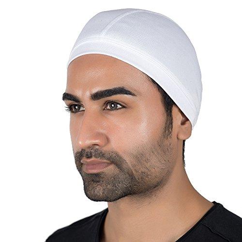 Le Gear Premium Dri-Fit Helmet Skull Cap (White, Free Size)