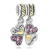 Poetic colgante 925plata de ley Madre Hija Amor Corazón Cristal Rosa Perlas passen Pandora Charms Pulseras