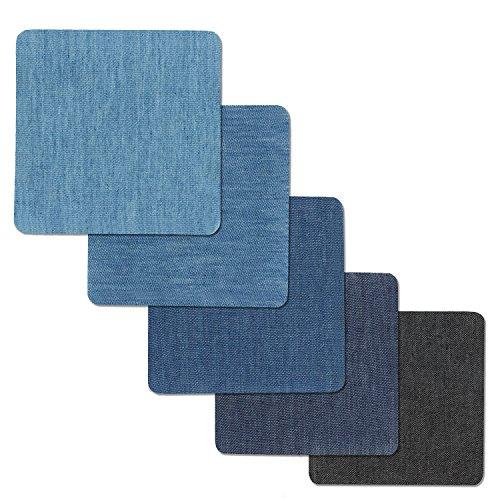 Fun Sponsor Patches zum aufbügeln, 20 Stück 5 Farben Denim Baumwolle Patches Bügeleisen Reparatursatz Aufbügelflicken Bügelflicken jeans flicken aufbügeln 4 Größen +1 Stück Nähzeug (#1)