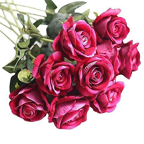 Malloom 5 pièces de flanelle de faux roses artificielles Bouquet de mariée fleur Mariage Fête Décoration de maison(Les vases ne sont pas inclus) (B)