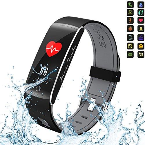 Fitness Tracker, idoosmart Blut Sauerstoff Druck Herzfrequenz Monitor Activity Tracker, wasserdicht IP68Smart Armbandes, Bluetooth Wireless Activity-Armband mit Ersatz-Gurt für Android und IOS Smartphones, Herren, grau